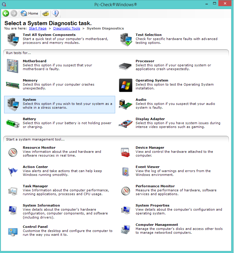 PC Check Windows Diagnostic Tools