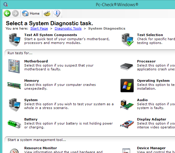 Pc-Check diagnostic task list