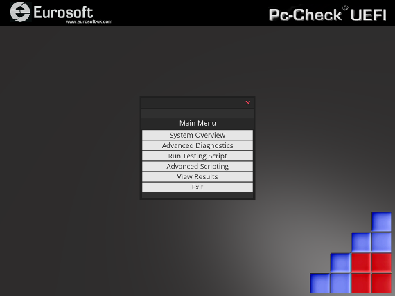 Pc-Check UEFI Diagnostic Menu